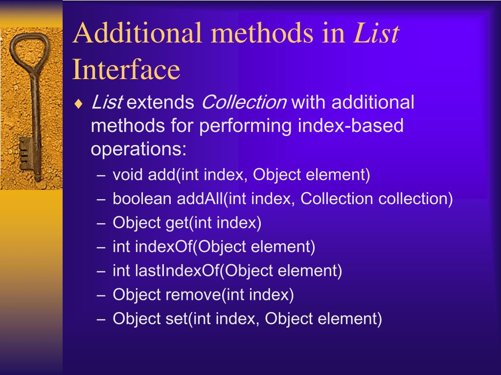 Additional methods in