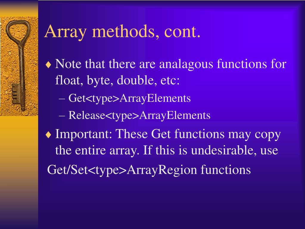 Array methods, cont.