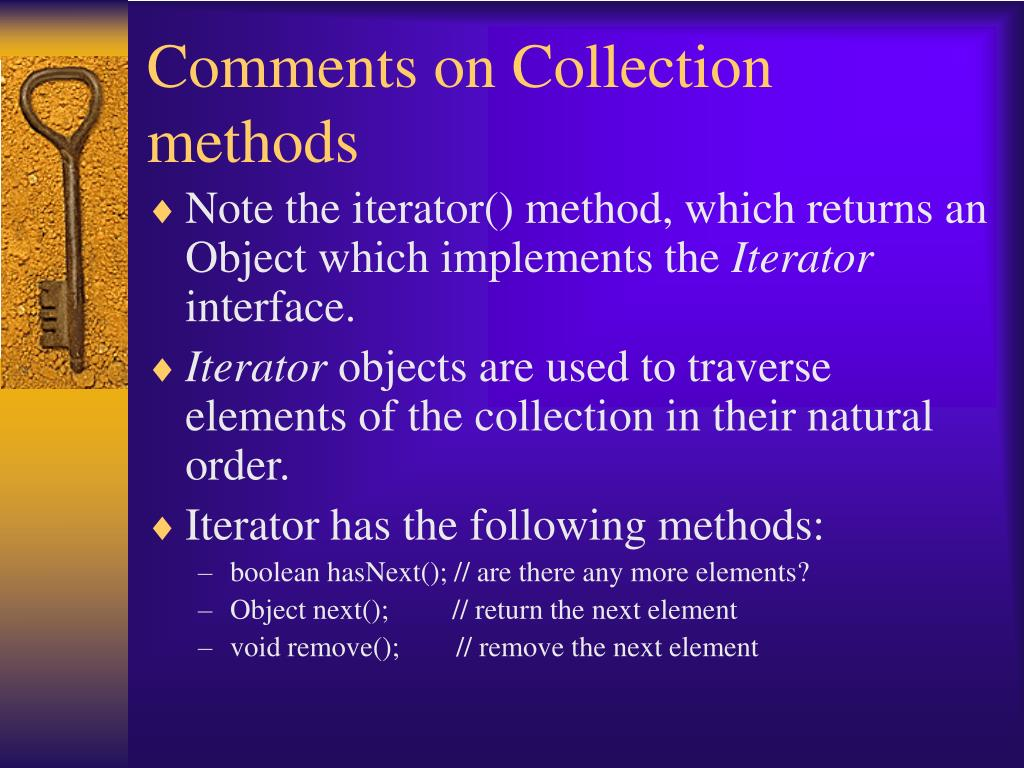 Comments on Collection methods