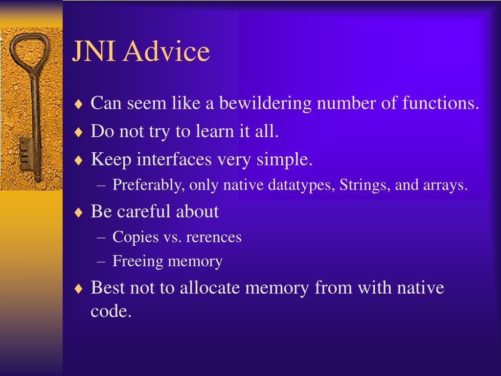 JNI Advice