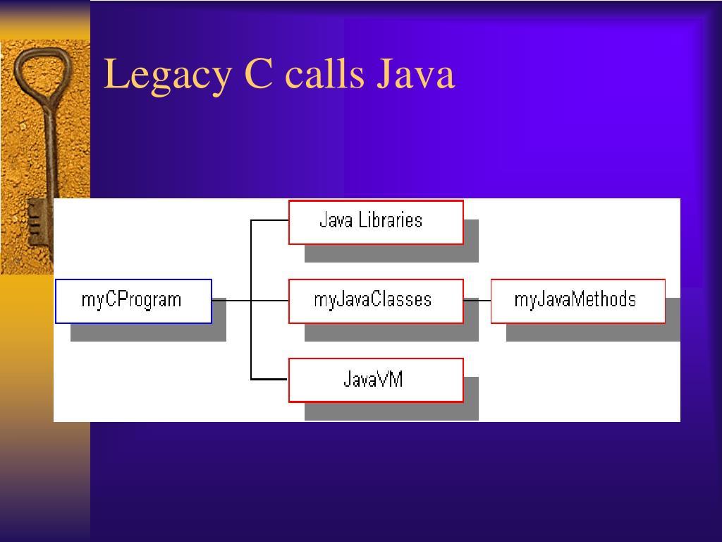 Legacy C calls Java