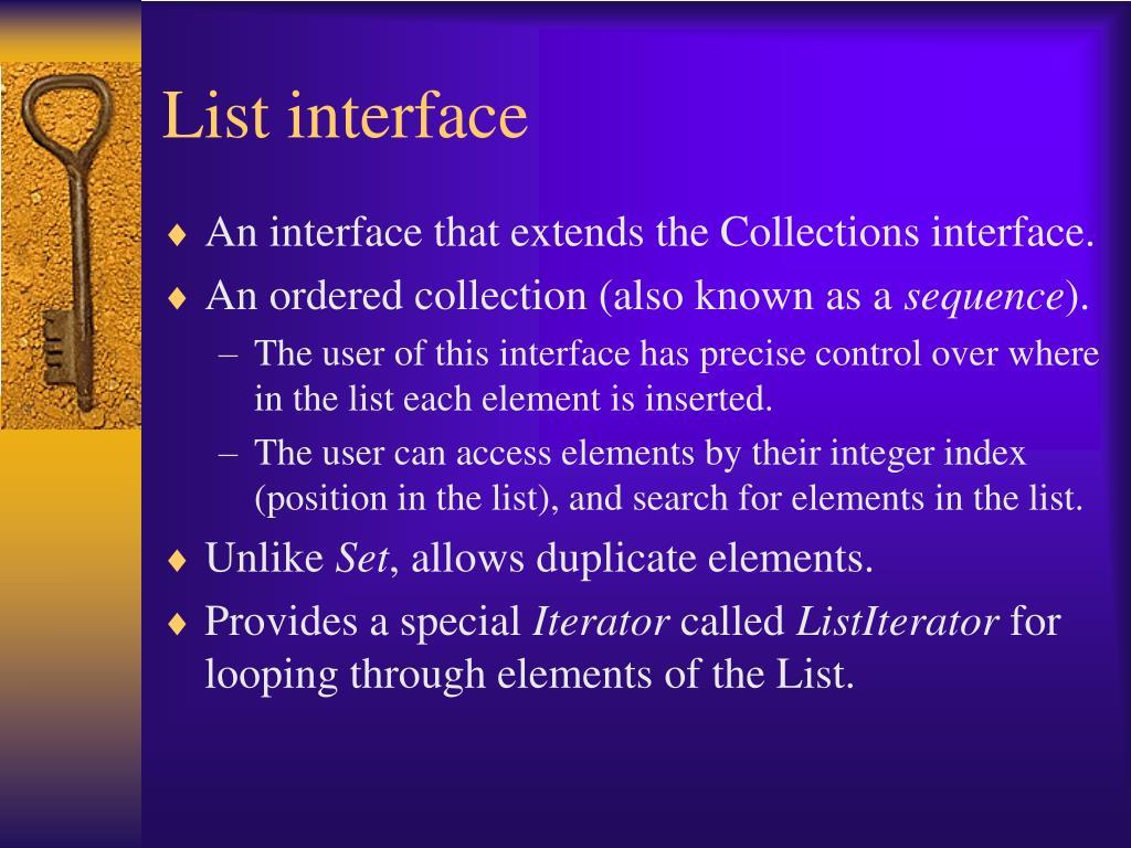 List interface