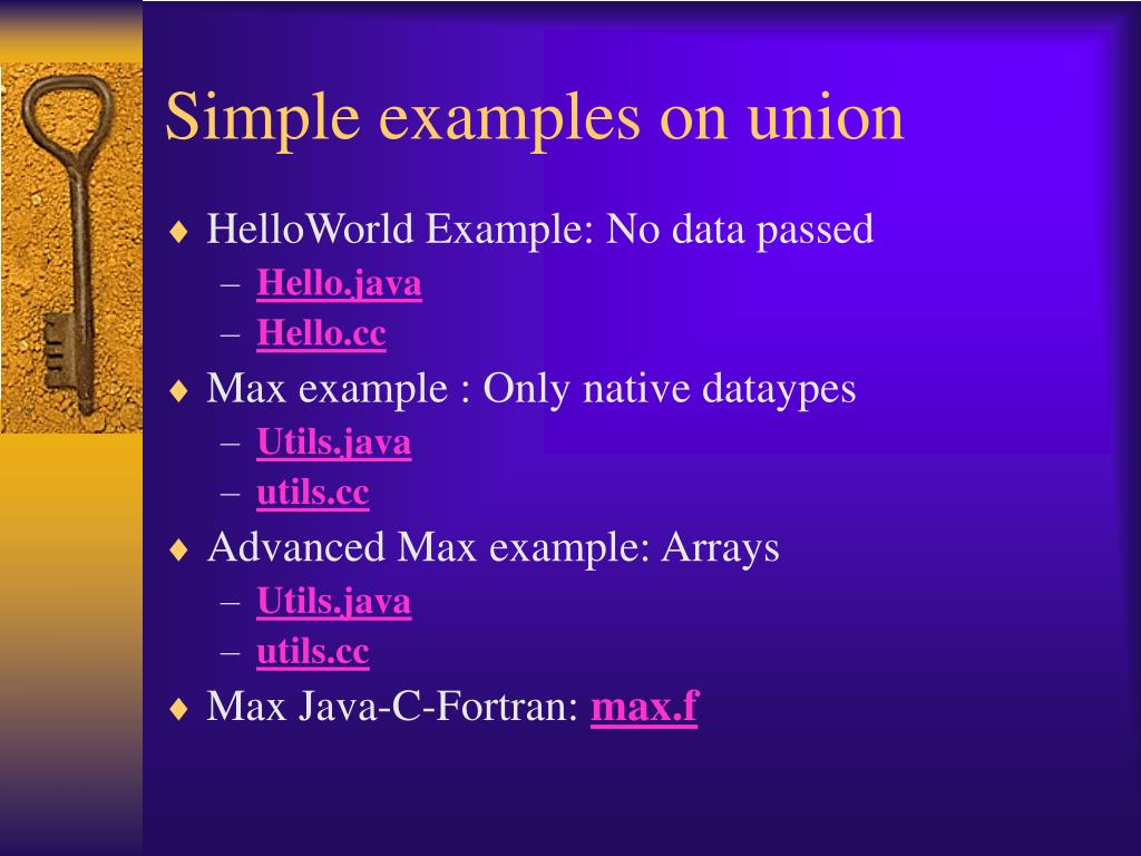 Simple examples on union