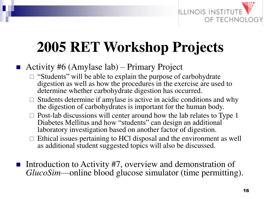 2005 RET Workshop Projects