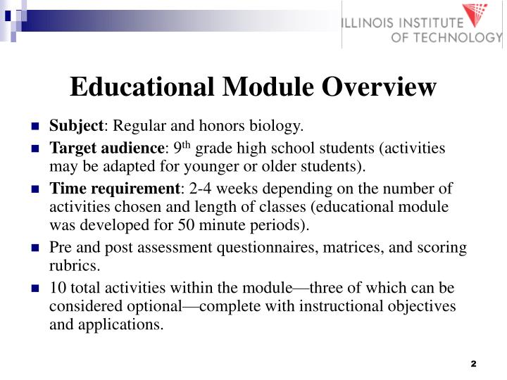 Educational module overview