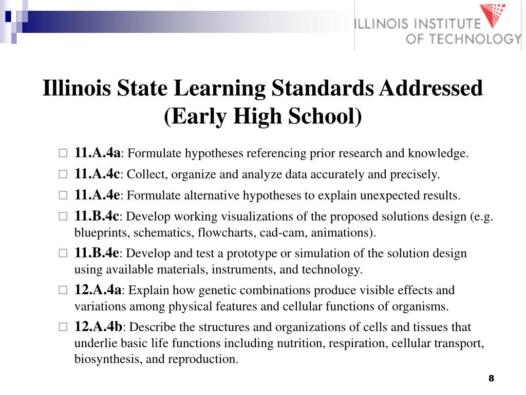 Illinois State Learning Standards Addressed (Early High School)