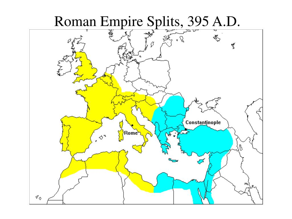 Roman Empire Splits, 395 A.D.