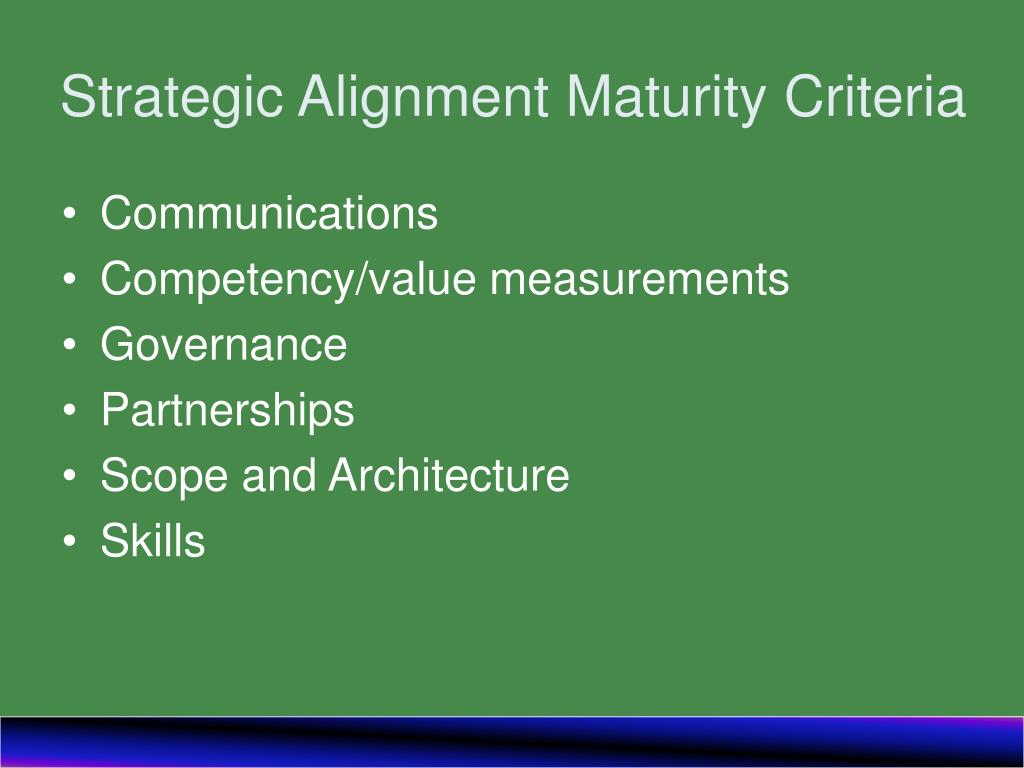 Strategic Alignment Maturity Criteria