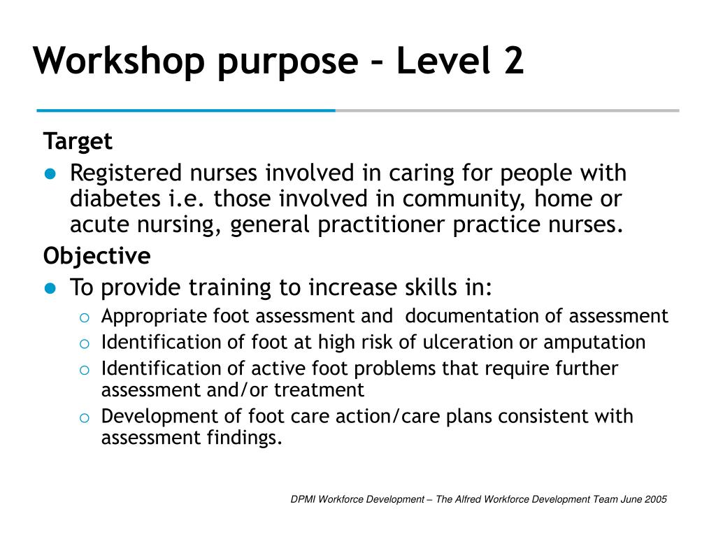Workshop purpose – Level 2