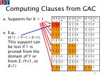 computing clauses from gac72