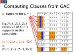 computing clauses from gac74