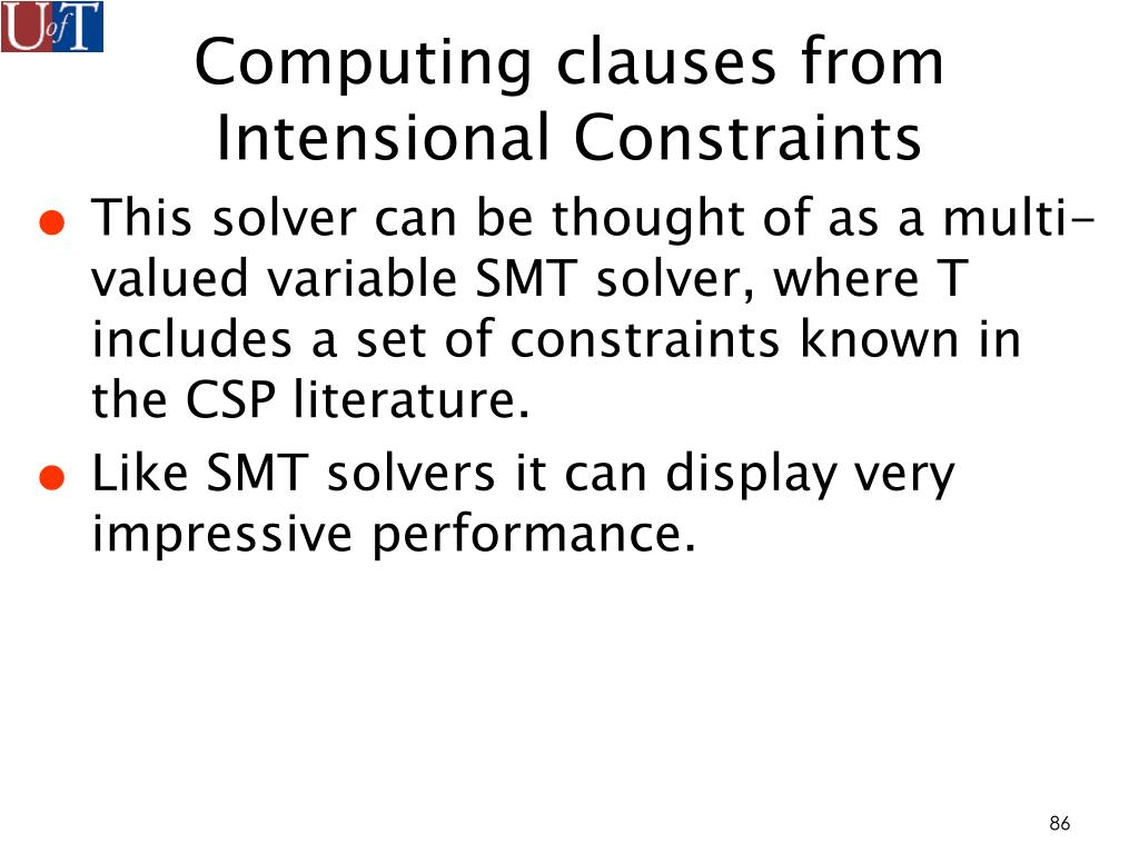 Computing clauses from Intensional Constraints