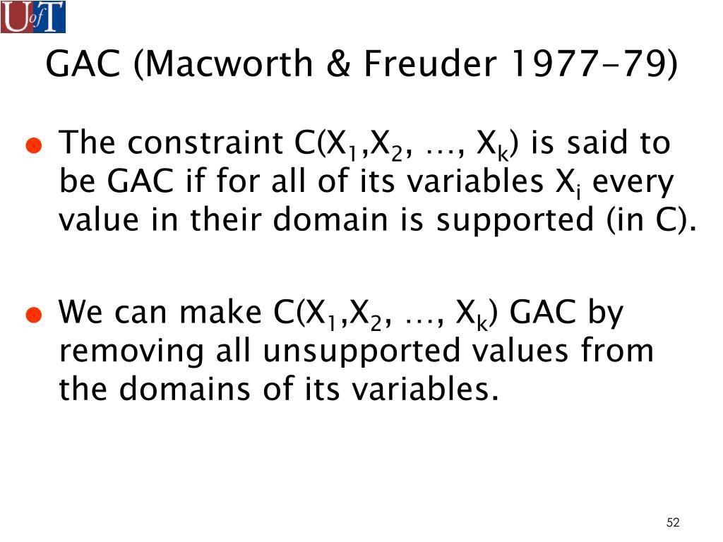GAC (Macworth & Freuder 1977-79)