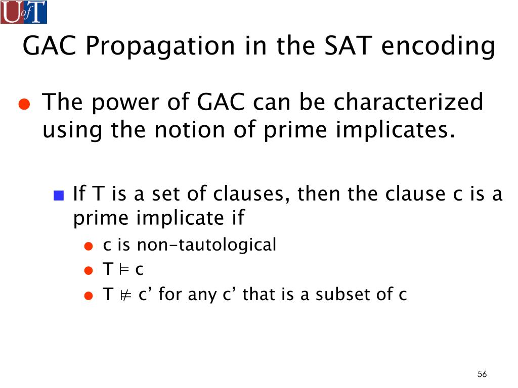 GAC Propagation in the SAT encoding