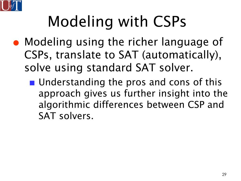 Modeling with CSPs