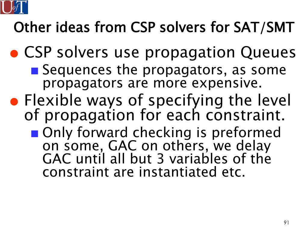 Other ideas from CSP solvers for SAT/SMT