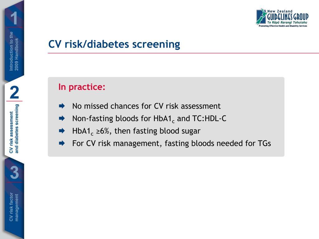CV risk/diabetes screening