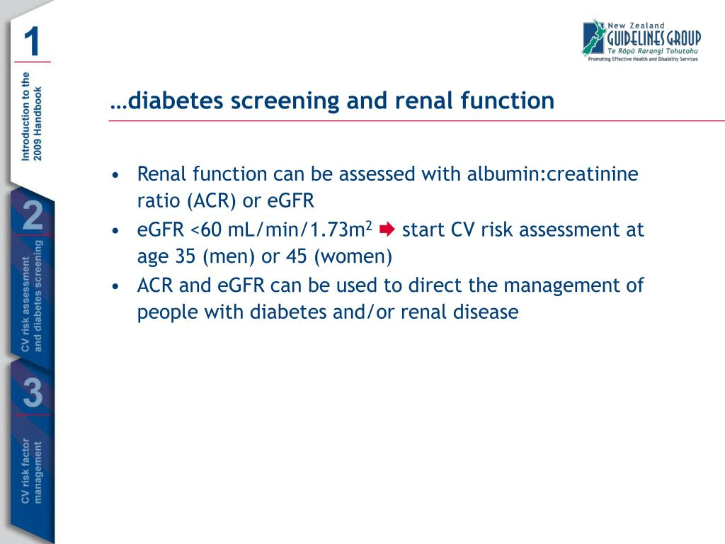 Renal function can be assessed with albumin:creatinine ratio (ACR) or eGFR