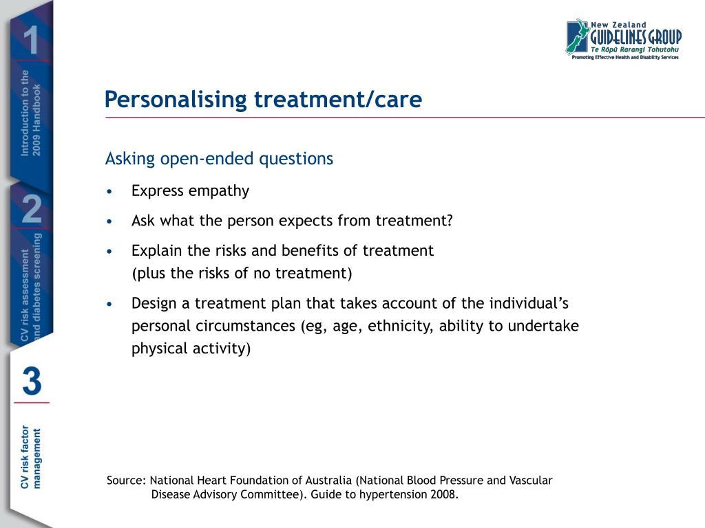 Personalising treatment/care