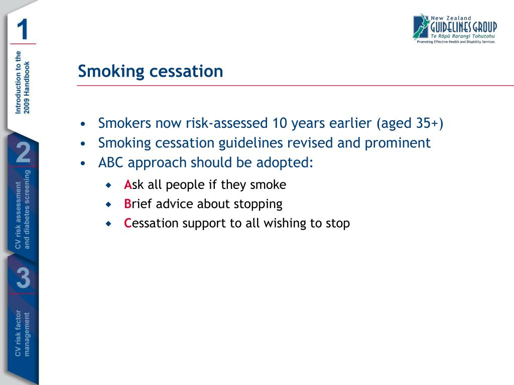 Smokers now risk-assessed 10 years earlier (aged 35+)