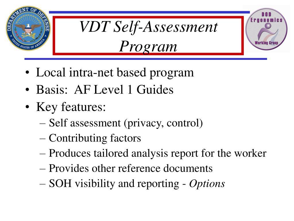 VDT Self-Assessment Program