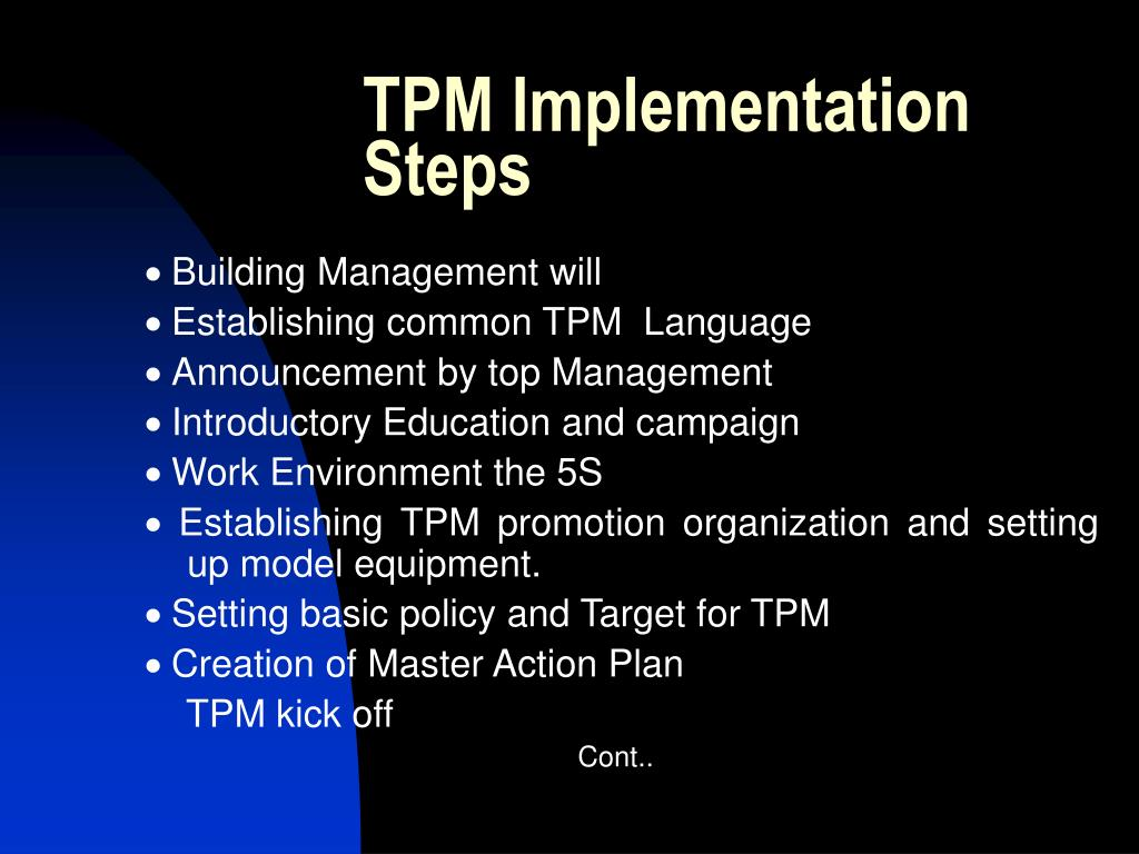 TPM Implementation Steps