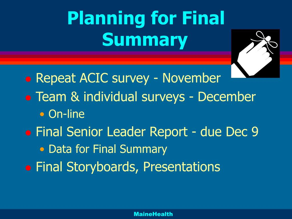 Planning for Final Summary