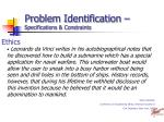 problem identification specifications constraints20