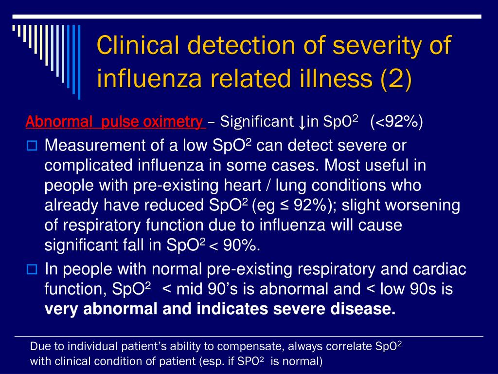 Clinical detection of severity of influenza related illness (2)
