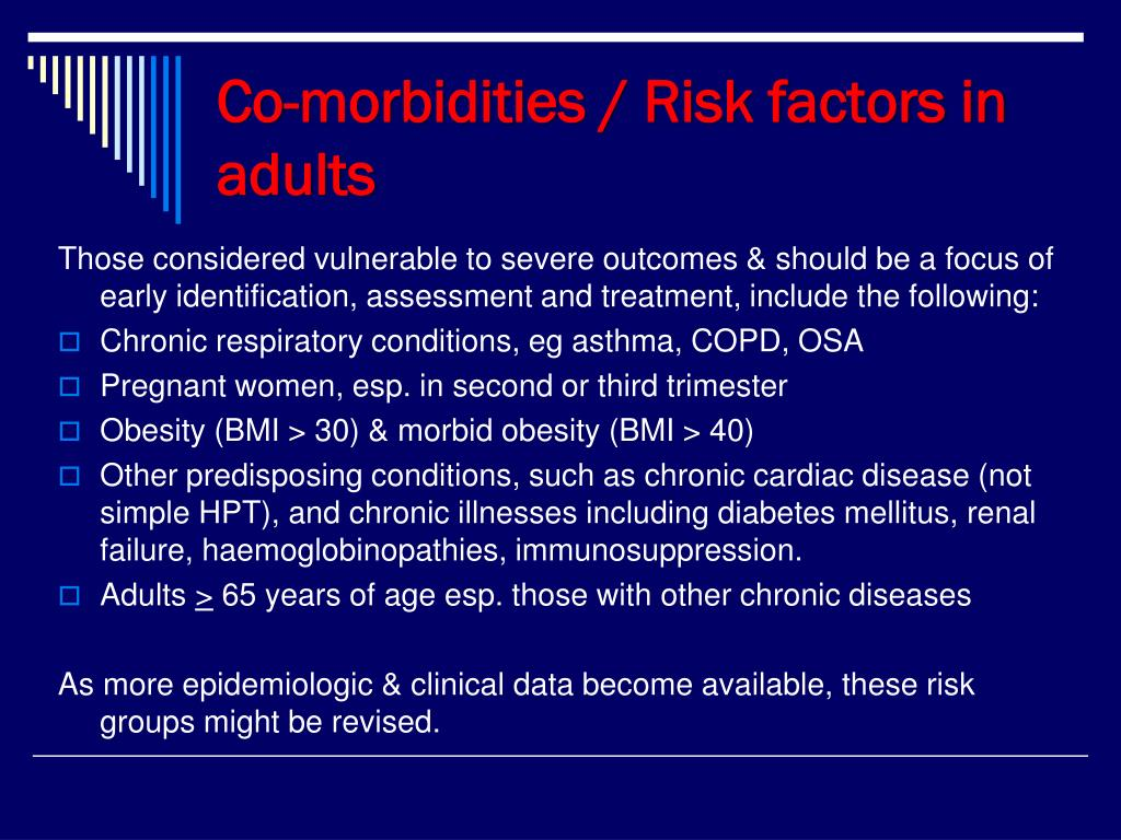 Co-morbidities / Risk factors in adults