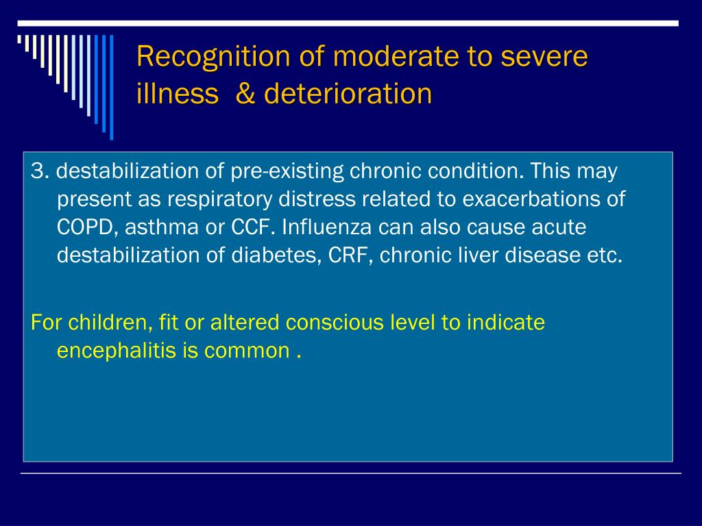 Recognition of moderate to severe illness  & deterioration