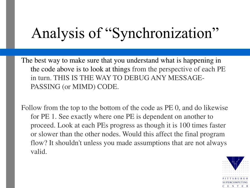 """Analysis of """"Synchronization"""""""