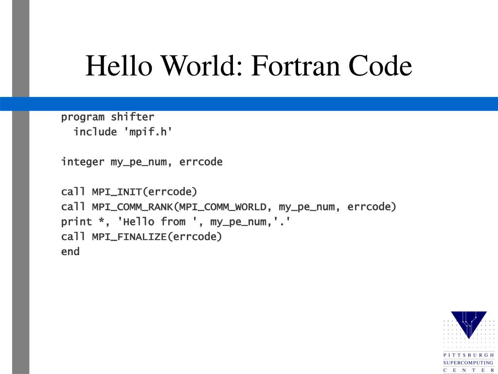 Hello World: Fortran Code