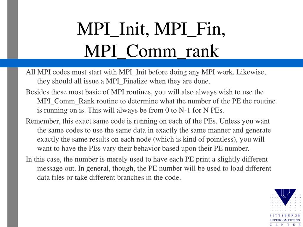 MPI_Init, MPI_Fin, MPI_Comm_rank