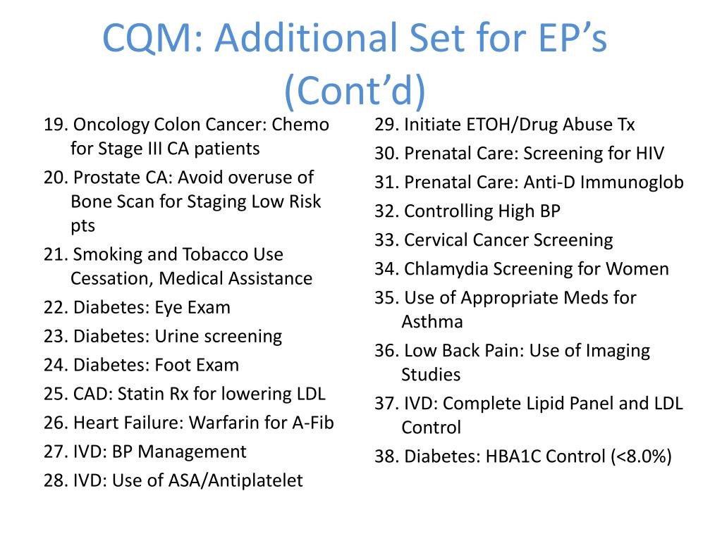 CQM: Additional Set for EP's (Cont'd)