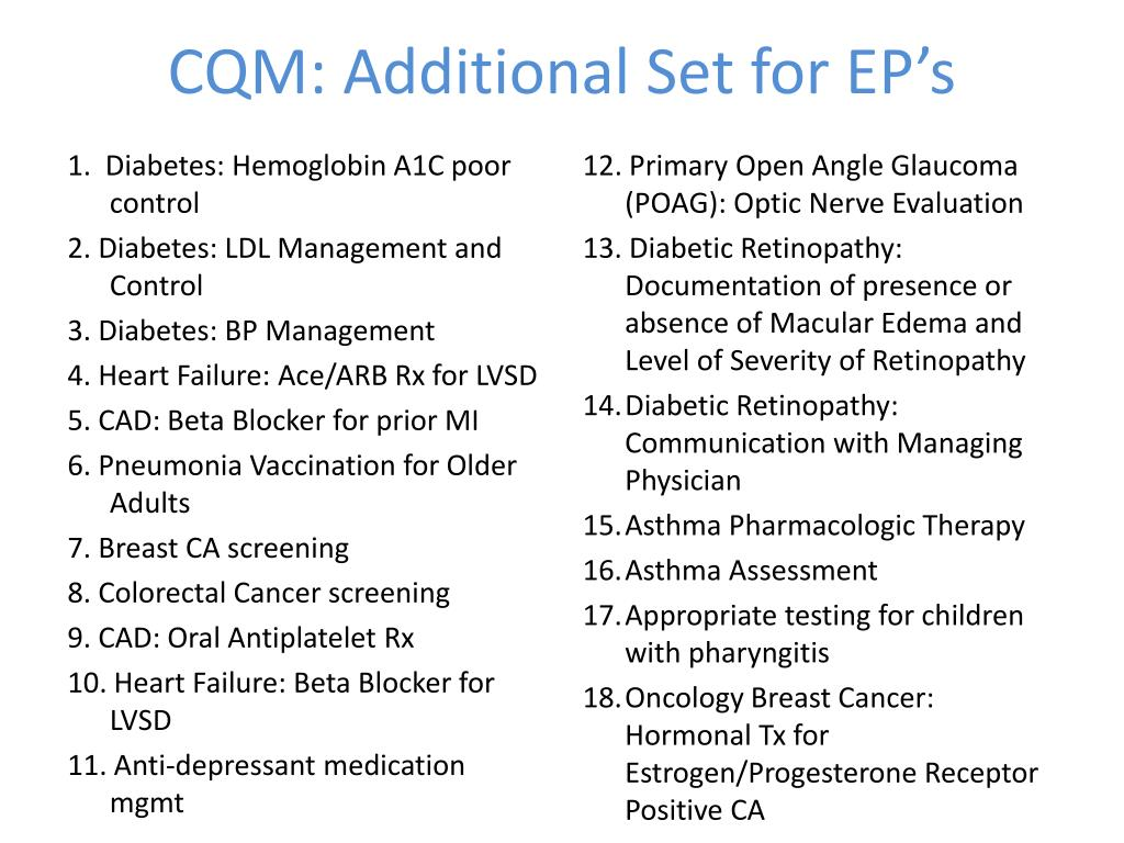 CQM: Additional Set for EP's