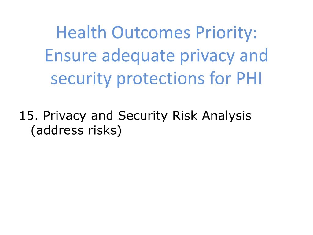 Health Outcomes Priority: