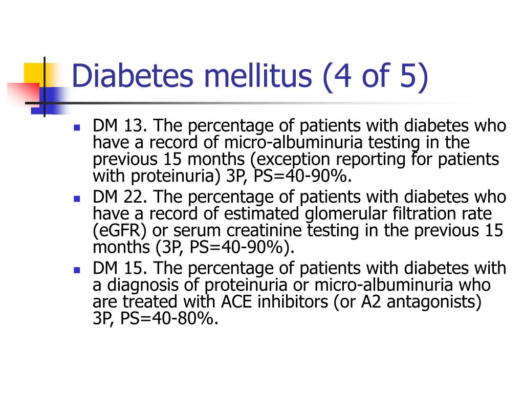 Diabetes mellitus (4 of 5)