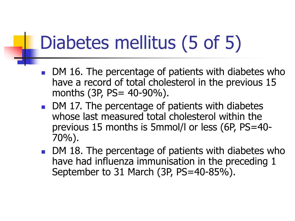 Diabetes mellitus (5 of 5)