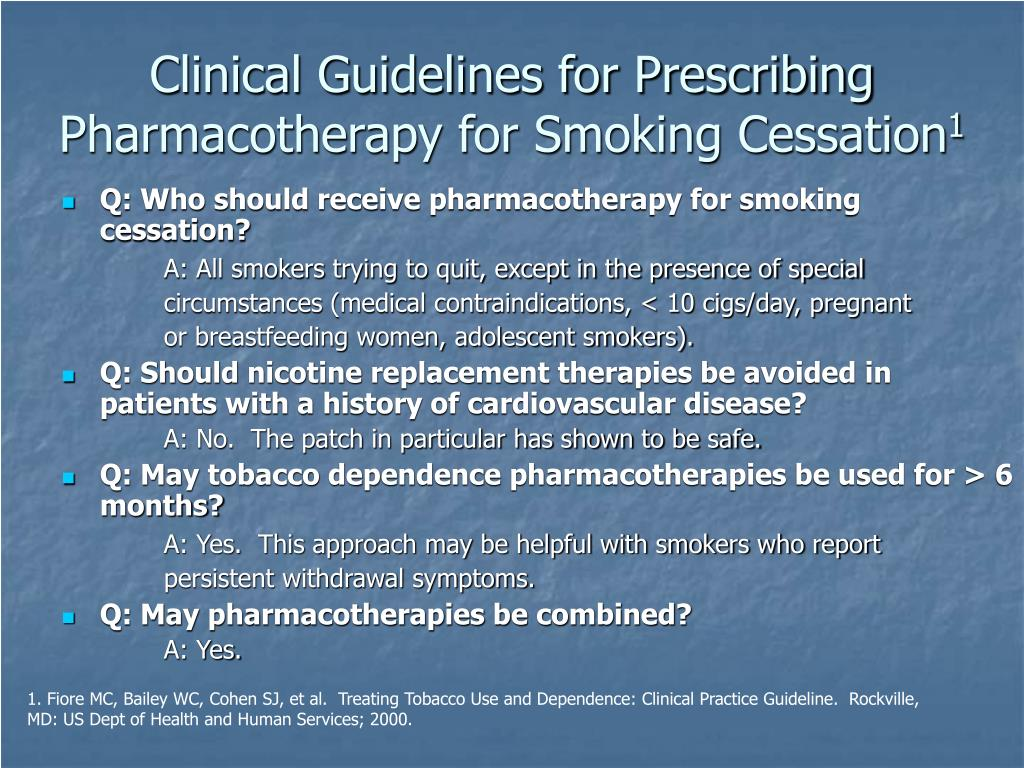 Clinical Guidelines for Prescribing Pharmacotherapy for Smoking Cessation