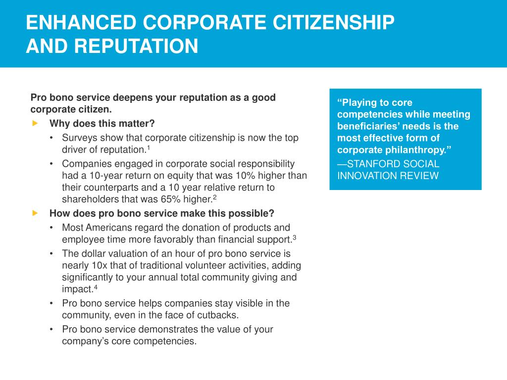 ENHANCED CORPORATE CITIZENSHIP