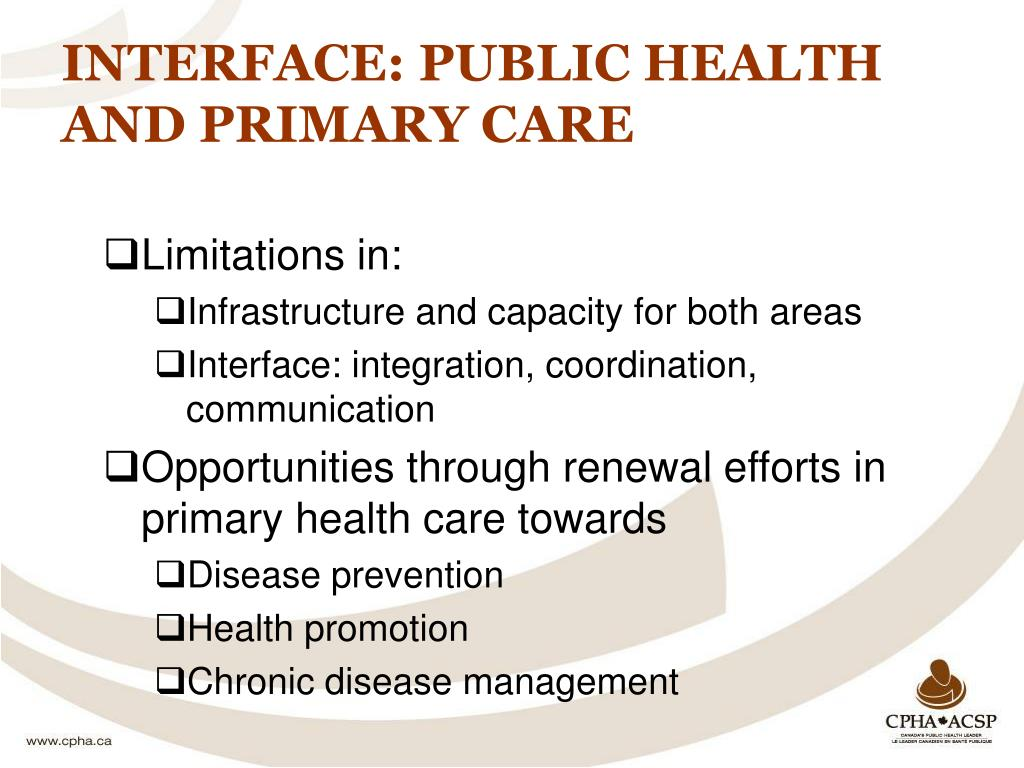 INTERFACE: PUBLIC HEALTH AND PRIMARY CARE