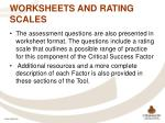 worksheets and rating scales