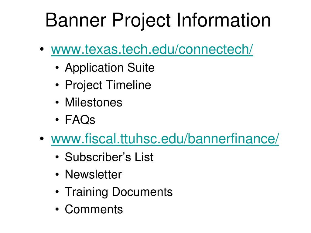 Banner Project Information
