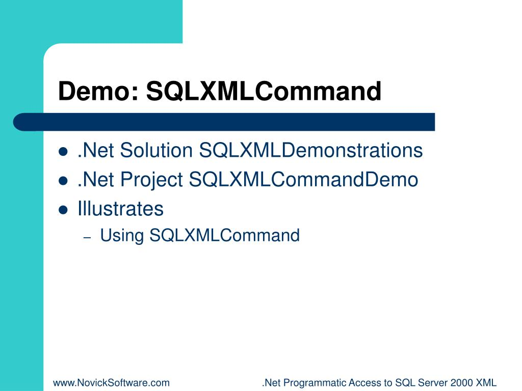 Demo: SQLXMLCommand