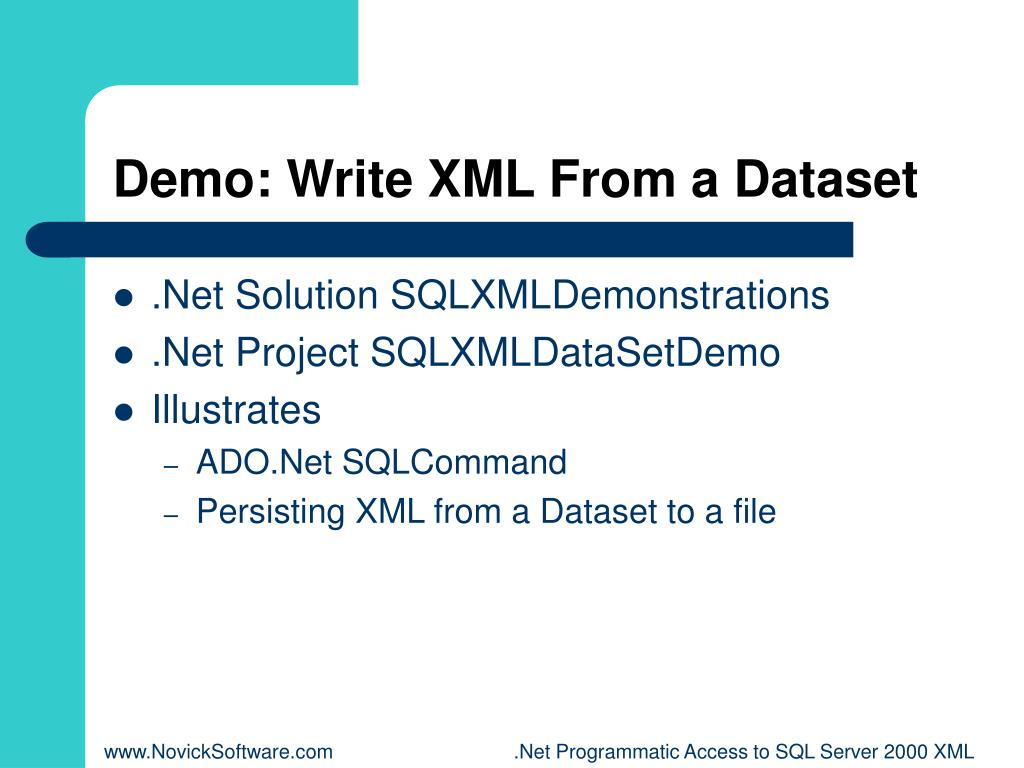 Demo: Write XML From a Dataset