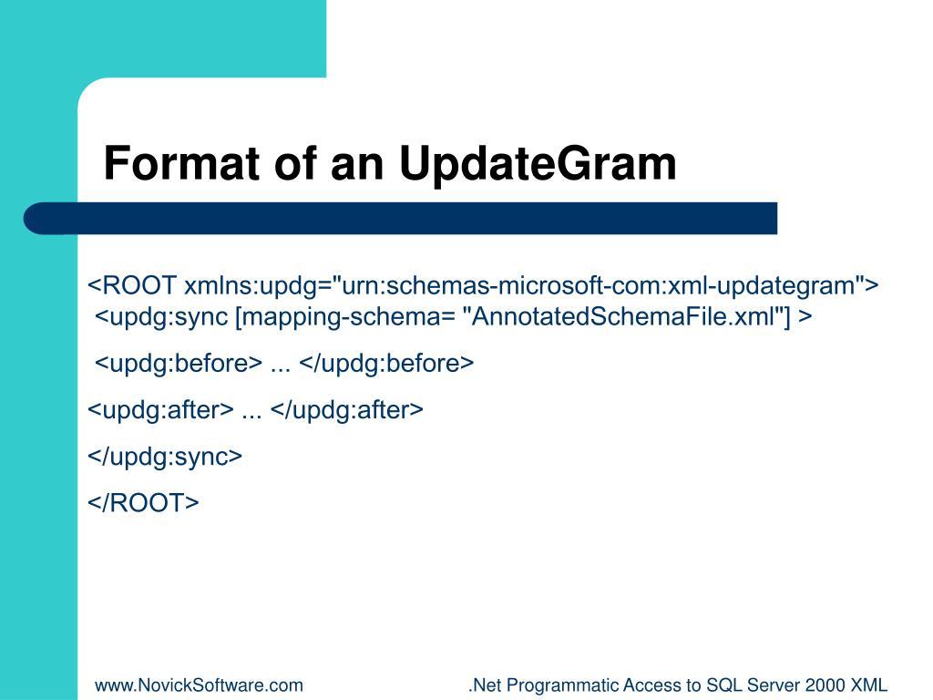 Format of an UpdateGram