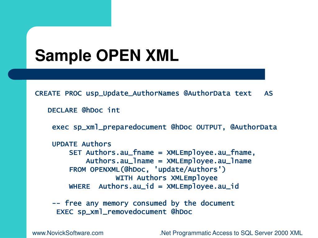 Sample OPEN XML