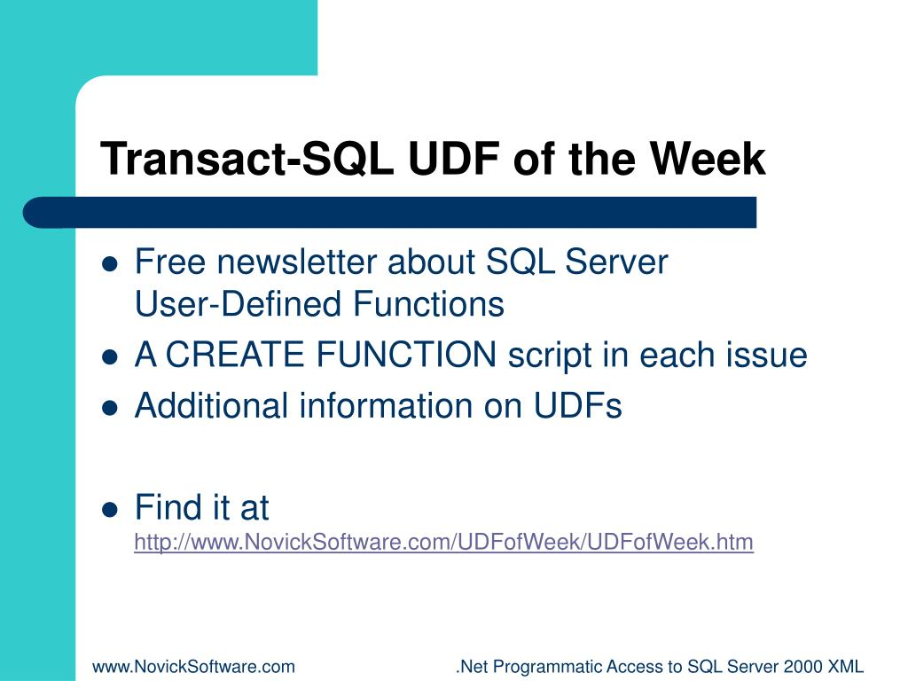 Transact-SQL UDF of the Week