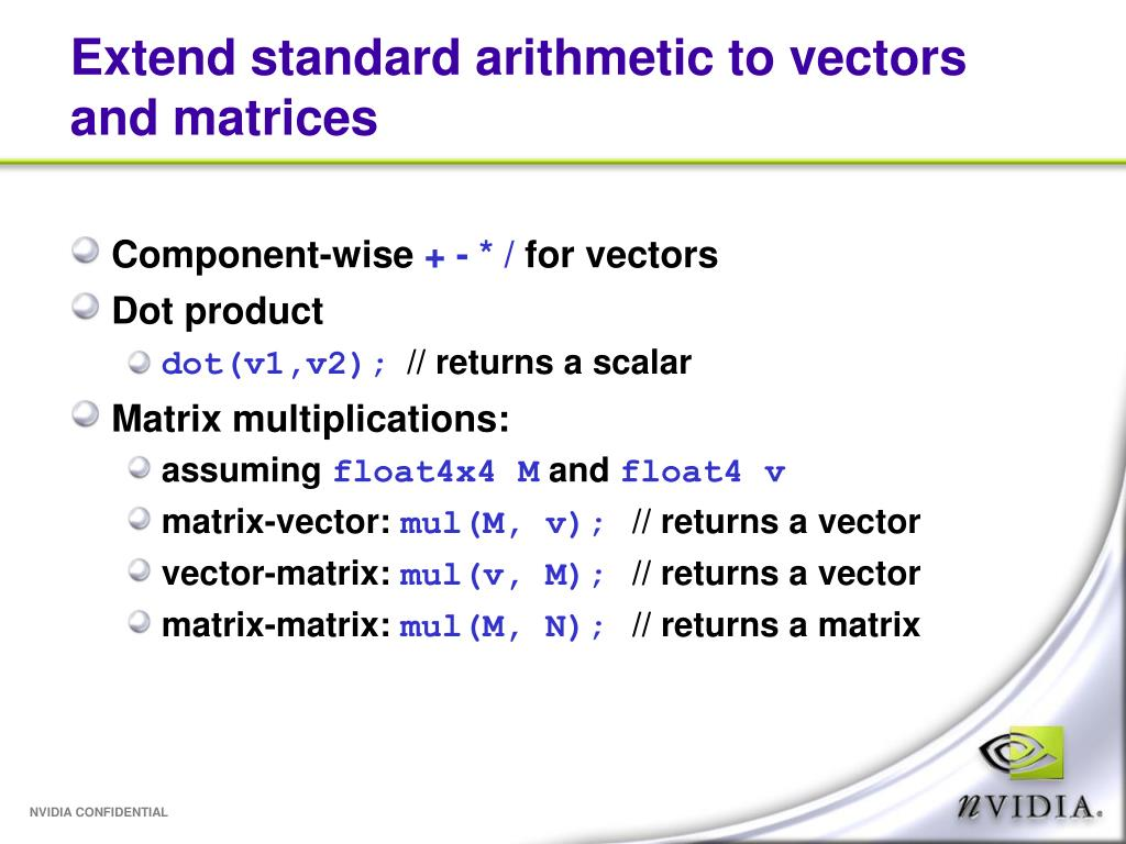 Extend standard arithmetic to vectors and matrices